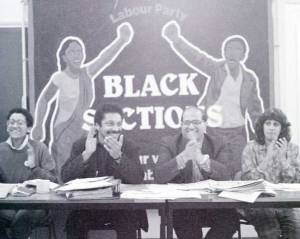 Linda Bellos (l) speaking at a Black Section meeting