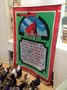 The original 20 foot by 18 foot banner that hung from the occupied town hall in 1986, courtesy of Ed Hall