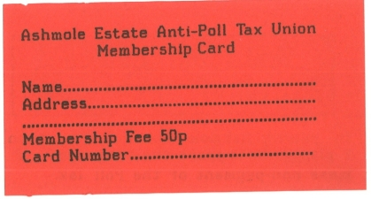 Ashmole anti poll tax union membership card back