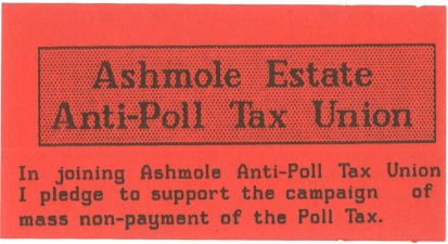 Ashmole anti poll tax union membership card front