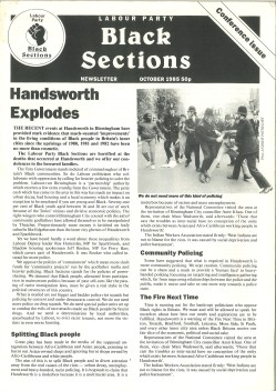 Black Sections newsletter October 1985