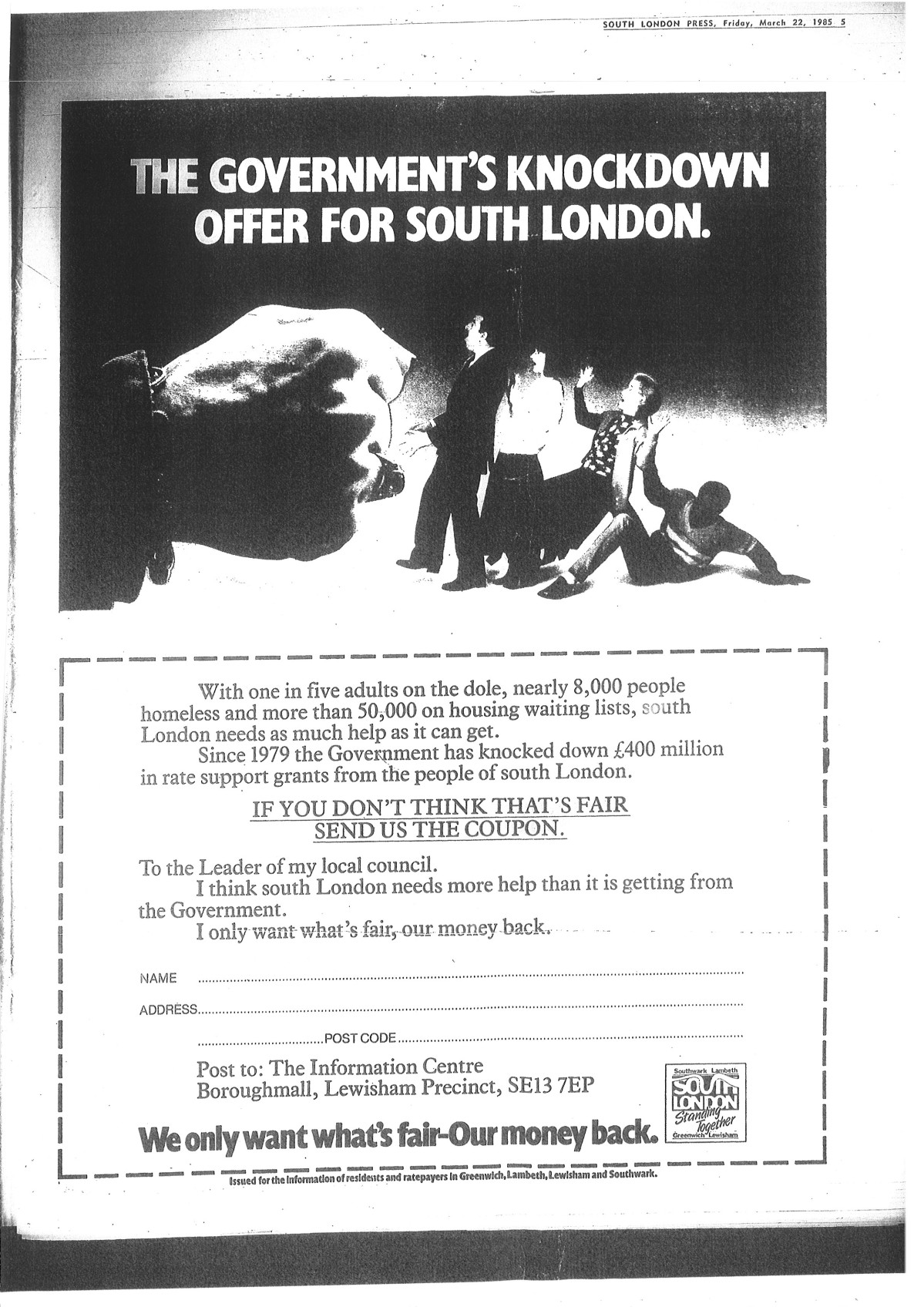 """Government's knock down offer for South London"", showing a fist punching over a group of people"