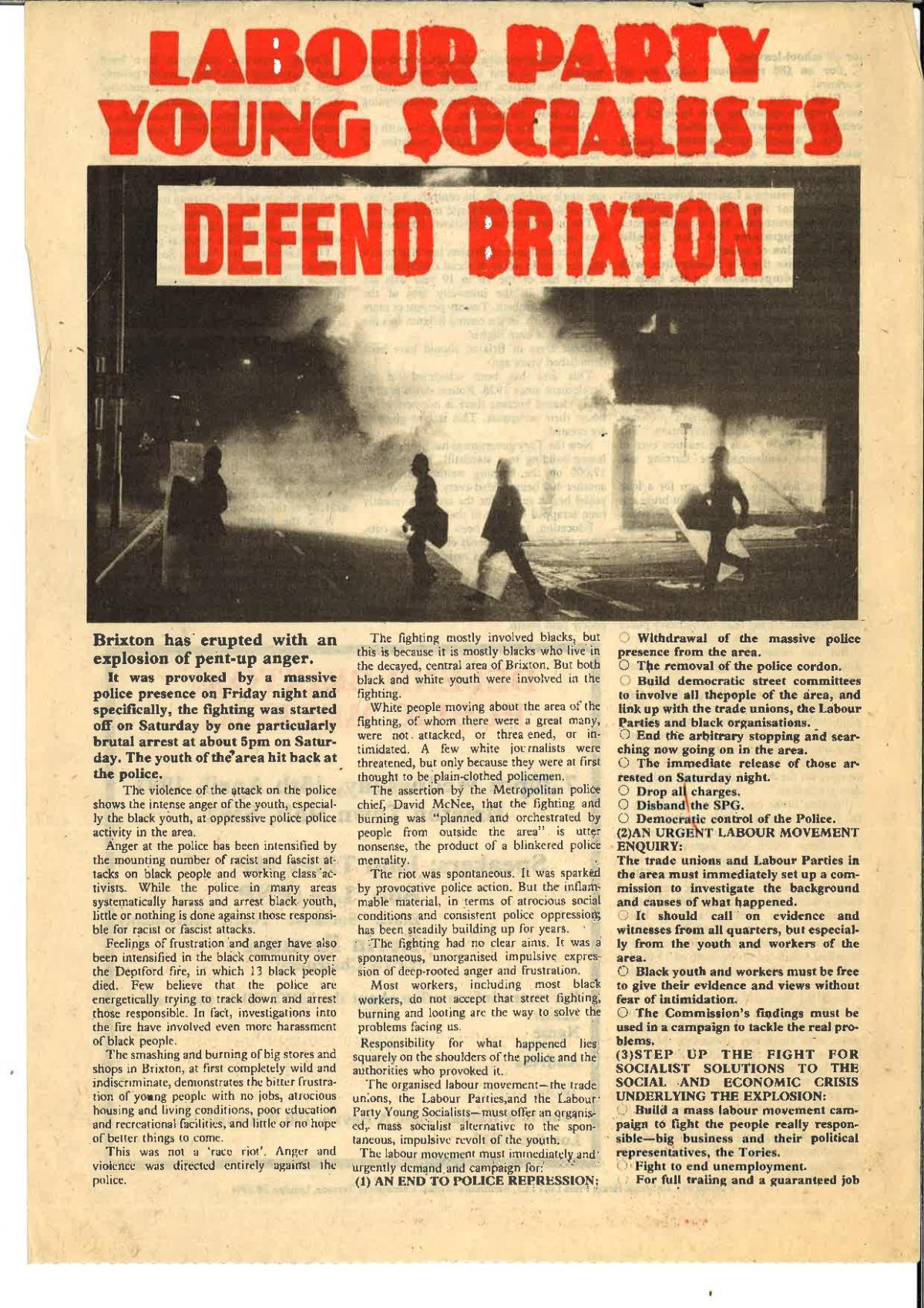 Socialist responses to Brixton riots1981