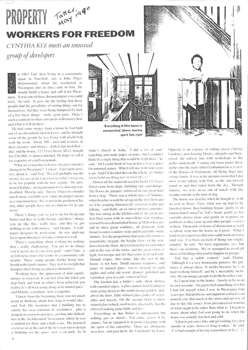 John Todd 121 Tyers Street Tatler article 1990