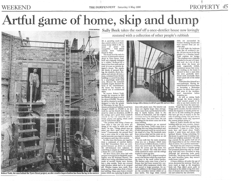 John Todd article Independent May 1990